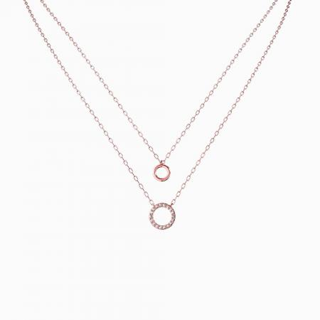 01a - Double Circle CZ Necklace