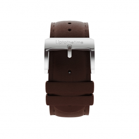 04a - Strap - Dark Brown Leather - Silver Buckle