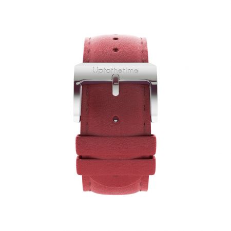05a - Strap - Red Leather - Silver Buckle